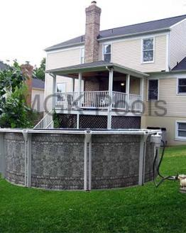 Oval Dauntless Above Ground Pool and Equipment behind house